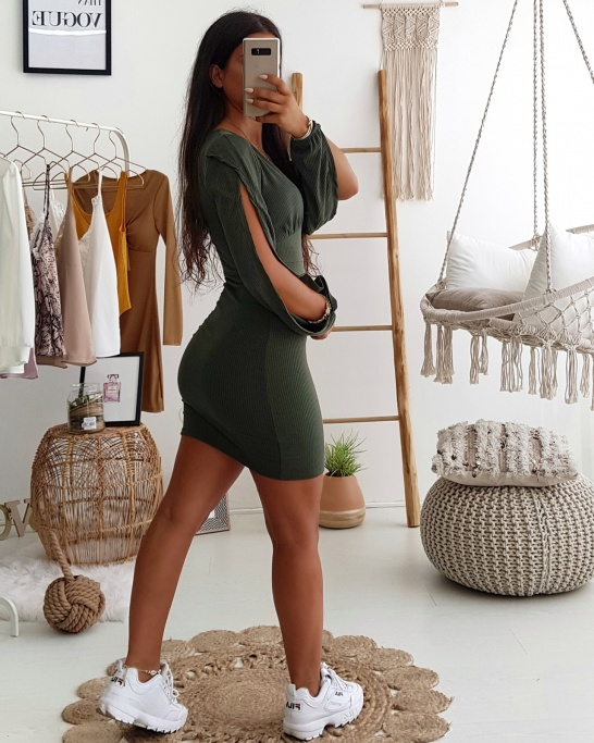Ribbed Dress with open sleeve Green