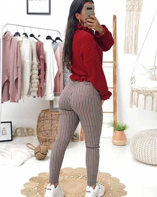 Checked Trousers Red