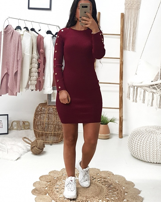 ADA Dress Bordeux (Buttons on sleeves)
