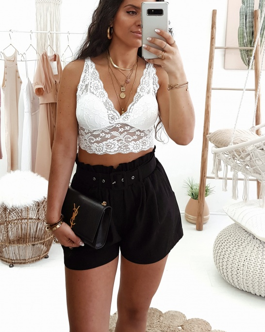 TOP 'LACE-UP' BRANCO