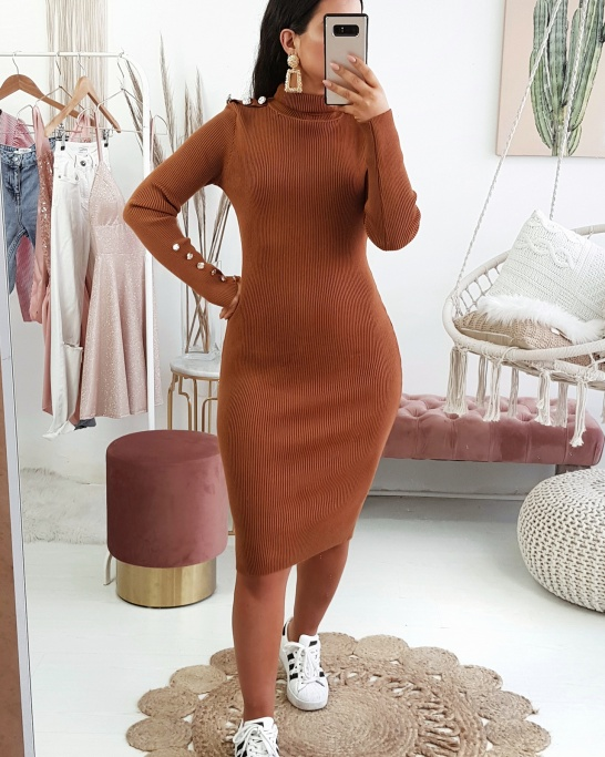 VESTIDO 'STOP THINKING ABOUT' CAMEL