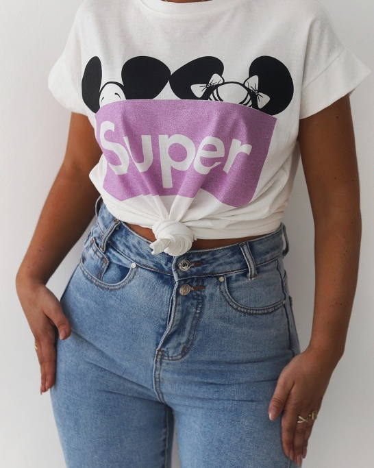 T-SHIRT 'SUPER MICKEY' IN LILAC