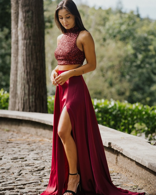 KTL - CONJUNTO 'MOONS AND STARS' IN BURGUNDY