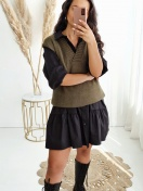 KNITTED VEST 'CARYNA' IN GREEN