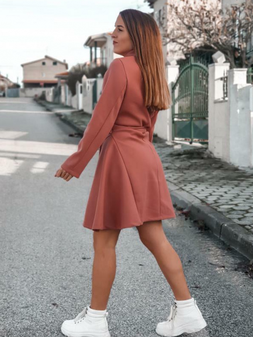 COAT 'LIKE DRESS' IN CORAL