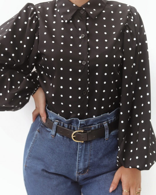 BLUSA 'POLKADOT PARTY' IN BLACK