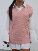 KNITTED VEST IN PINK