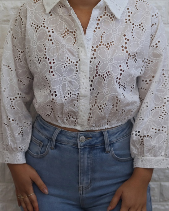 SHIRT 'CROPPED' IN WHITE