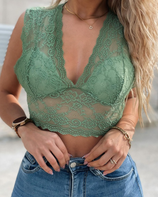 CROP TOP RENDADO VERDE